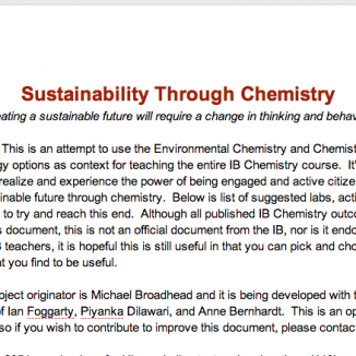 Sustainability Through Chemistry